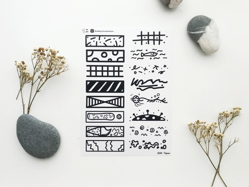 The Boy- Tapes washi sticker sheet - S06