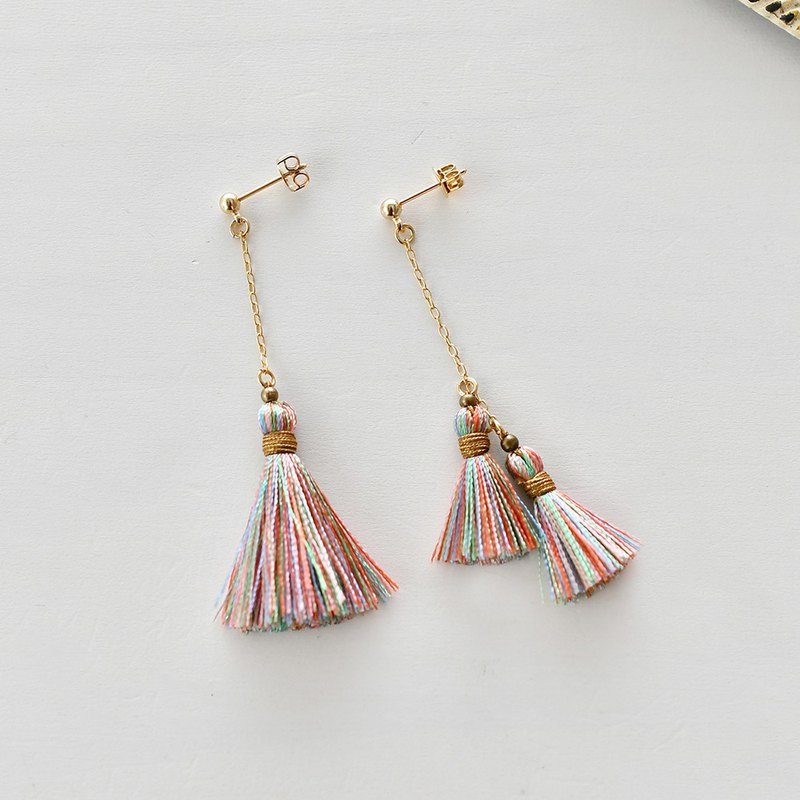 Asymmetry tassel earrings/Pastel