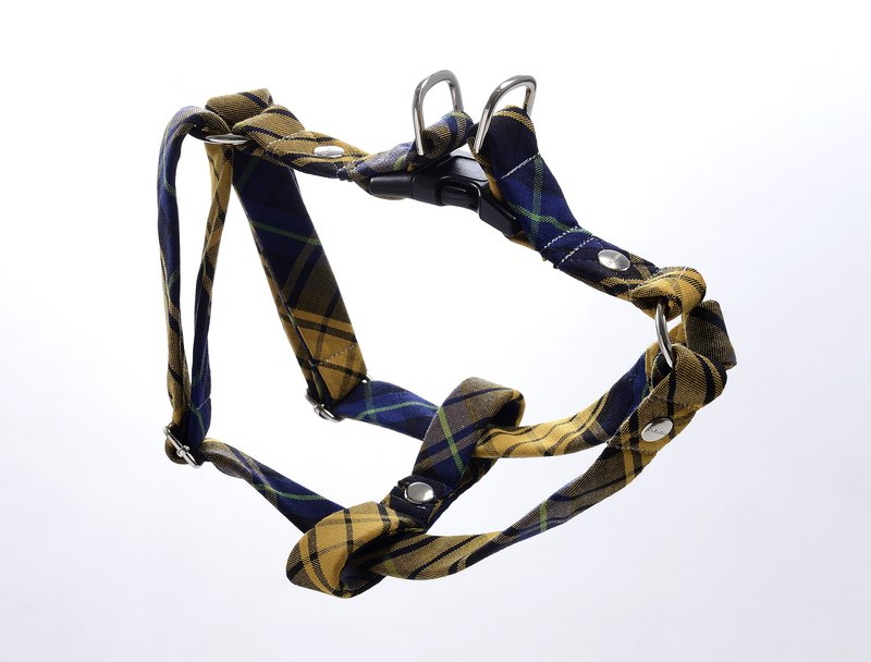 Classic Plaid Dog Y Harness & Boutique Bow【ZAZAZOO】