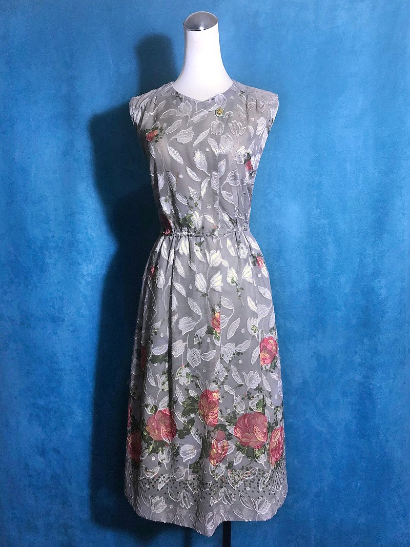Elegant gray double-layer texture sleeveless light antique dress / abroad brought back VINTAGE