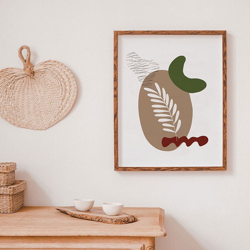 "botanic art with abstract shapes, Leaf Prints Buy 1 get 2 sizes 8x10""&12x18"""