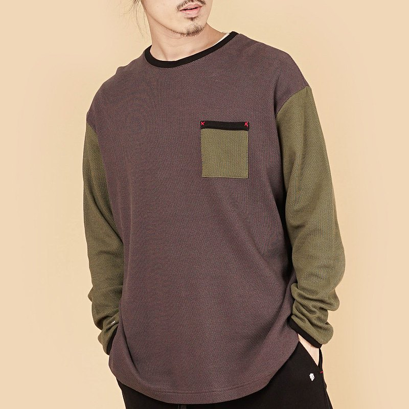 [Gift for Boyfriend/Free Shipping] Collagen Splicing Round Neck Long Sleeve Sweater (Male)-Gray + Ink Edge