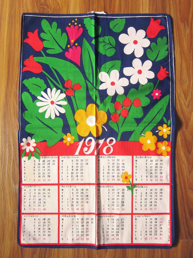 1978 Poppy flower calendar kitchen in Finland
