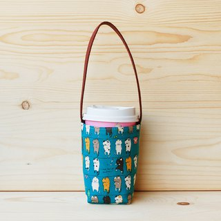 Squirrel Cat Blue/Super Business Coffee Cup Bag (Large Cup)