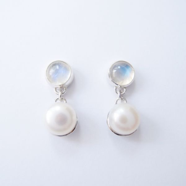 Classical moonlight stone pearl 925 silver earrings