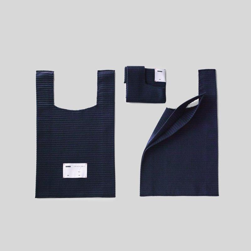 不收邊 棉質便利購物袋 深藍色
