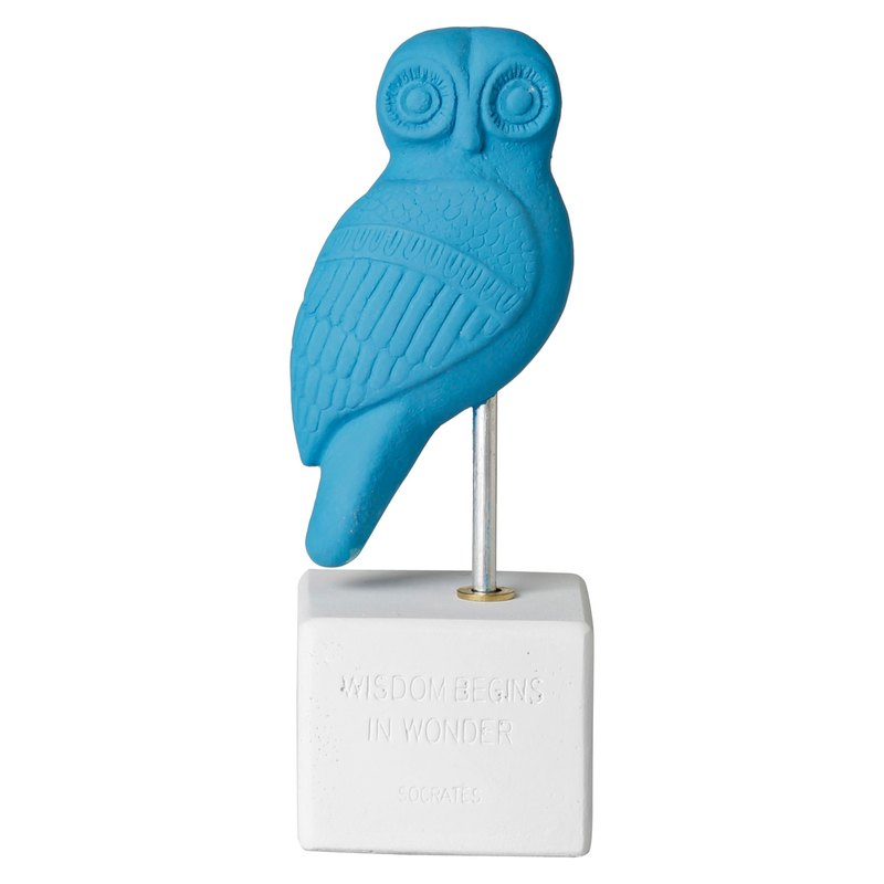Ancient Greek Owl Ornament Owl Heron (Light Blue) - Handmade Ceramic Statue