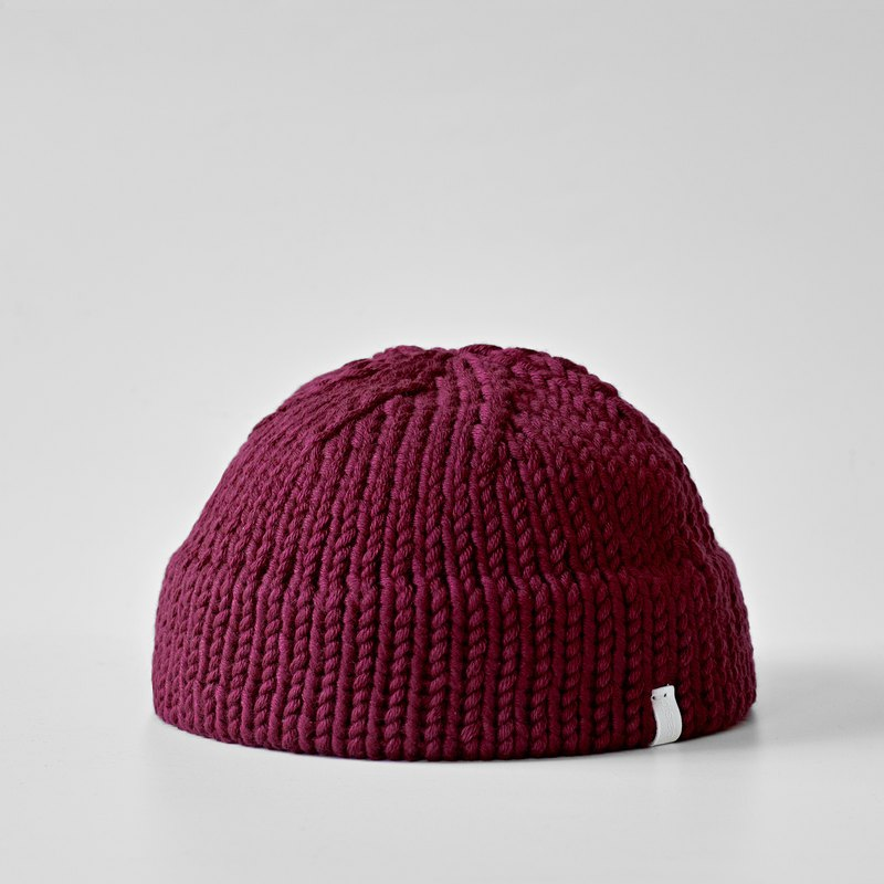 K007 Hand-knitted Short Dome Cap Sailor Cap-Burgundy