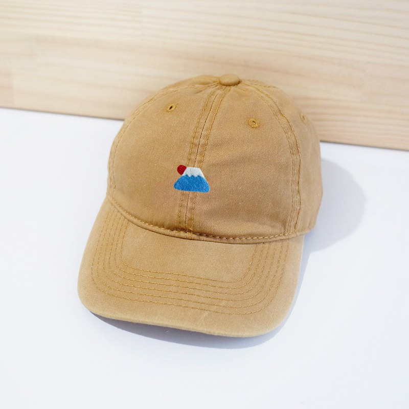 [Q-cute] hat series - Sun Fuji Mountain retro wind baseball cap - plus words