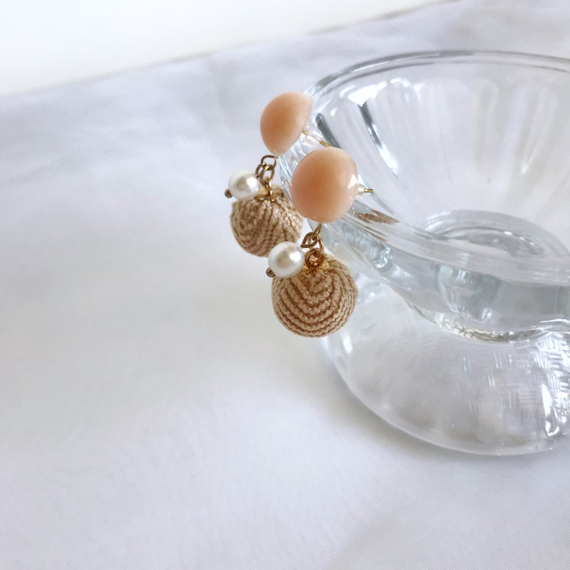 Autumn rice ear - handmade resin milk tea color drop earrings ear / ear clip
