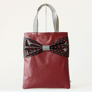 flat totebag Spin Off red dots borders stripes ribbon PVC
