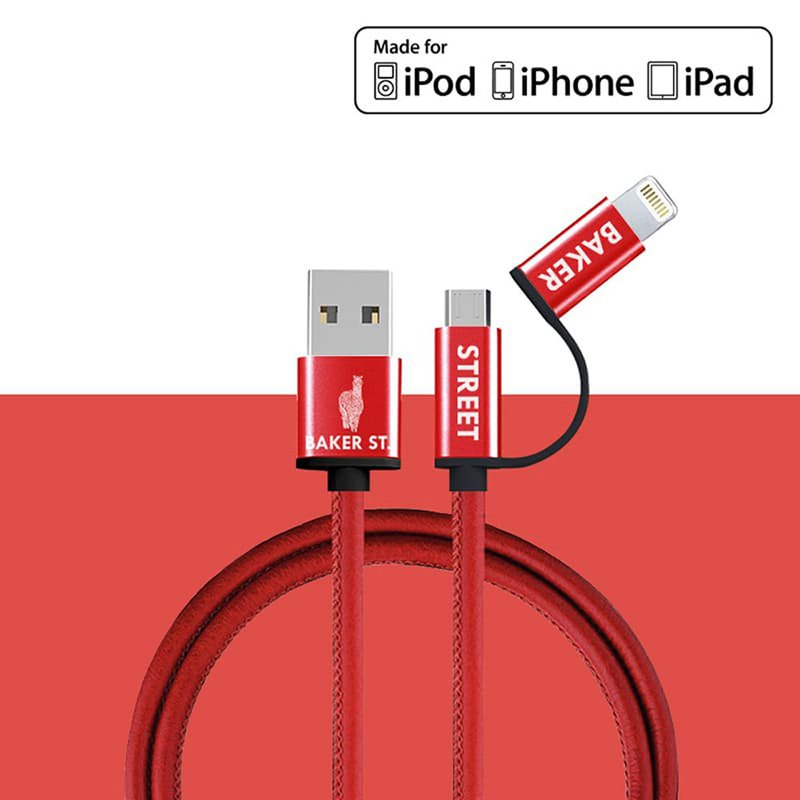 British Fashion Brand -Baker Street- Leather 2IN1 Charging Cable - Red
