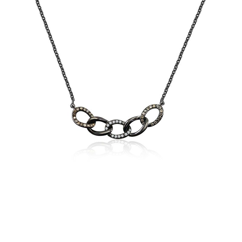 Chain Shape Black Diamond Necklace With Black Gold