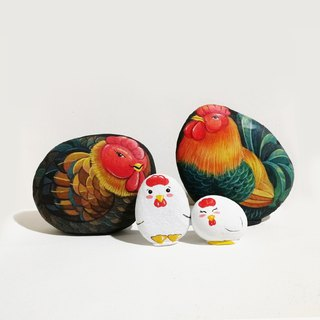 Chicken family stone painting.