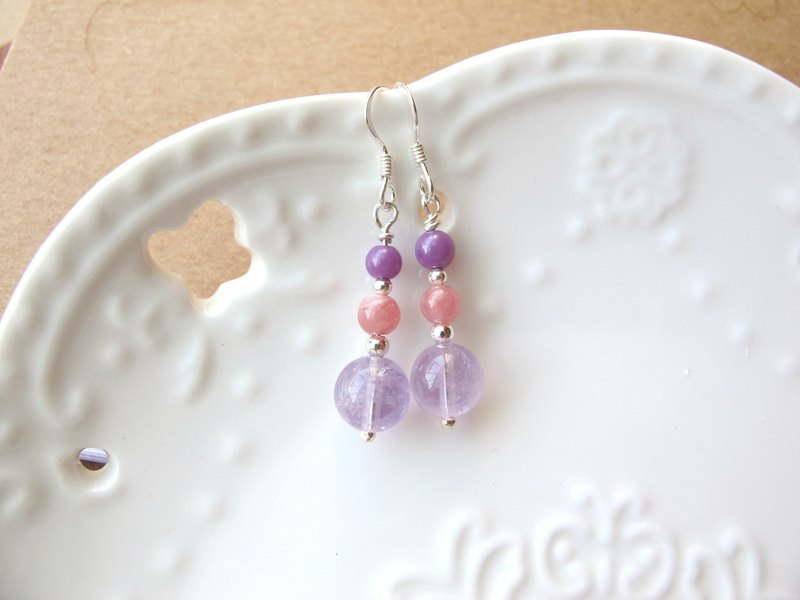 Red Stone x Violet x Amethyst x 925 Silver [Sweet Purple Sandwich] - Earrings