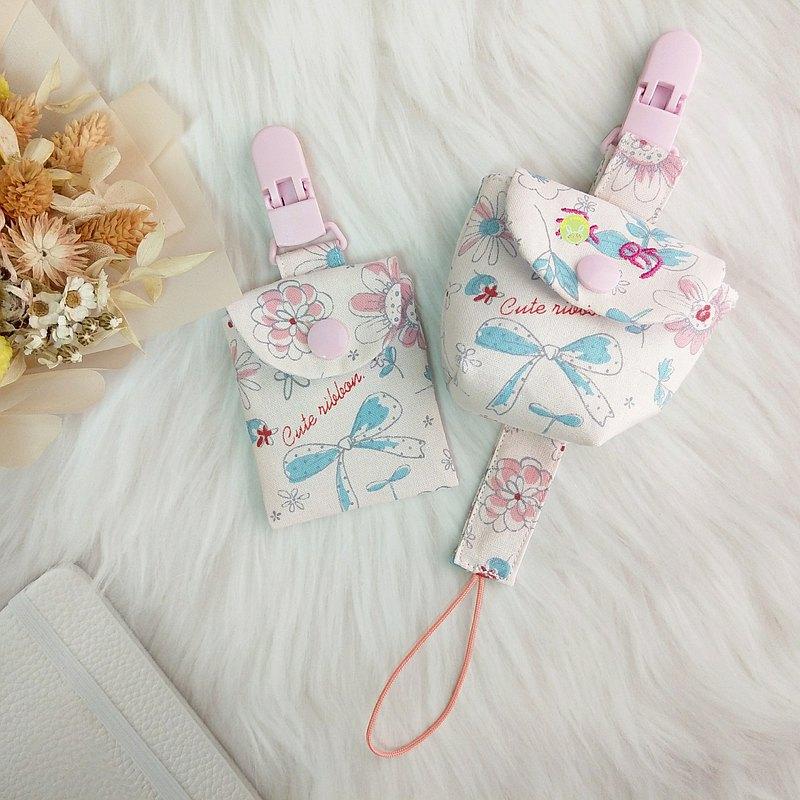 粉彩女孩風。3件組 。平安符袋+奶嘴袋+奶嘴鏈(可繡名字)