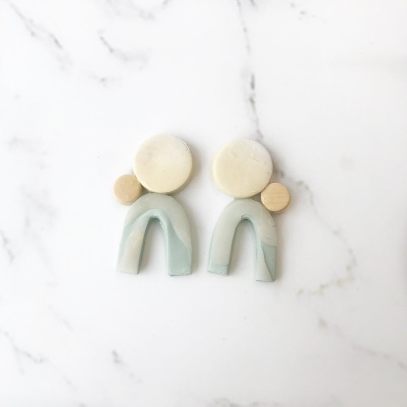 SIMWIS Co Handmade// Pastel Earth Combi U Dangle Stud Polymer Clay Earring