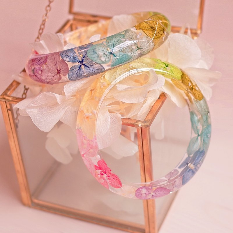Flower Said · Rainbow Paradise - Hydrangea Real Flower Bracelet X2 · Dry Flower Everlasting Flower Everlasting Flower