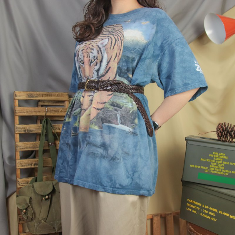 The Mountain Vintage Blue Tee 013 Tiger Short Sleeve T-Shirt [Tsubasa.Y Vintage House]
