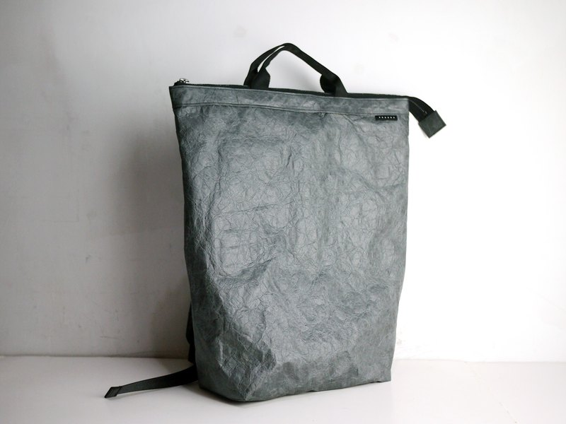 Tyvek 2 way Convertible (2 in 1) Backpack Handbag Tote Bag Silver Gray