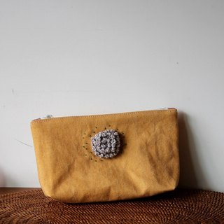 Cotton Fabric: Cosmetic Bag, ,Knitting flower,yellow