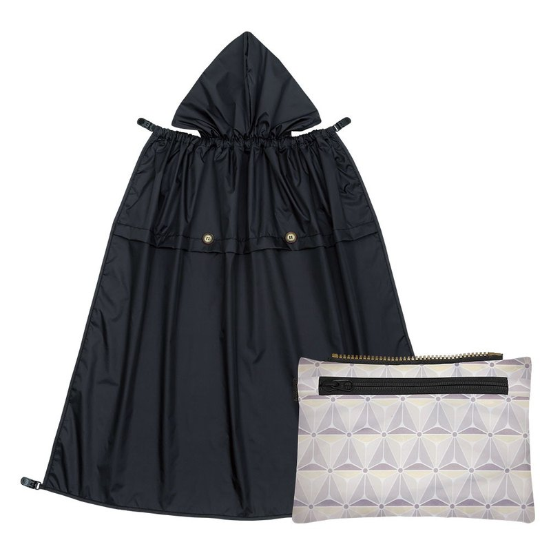 All-Seasons Rain Cover with Detachable Zippered Pouch - Black Knight