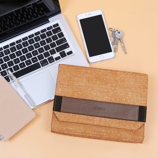 Light Brown Ramie Cotton Small Envelope Clutch Bag