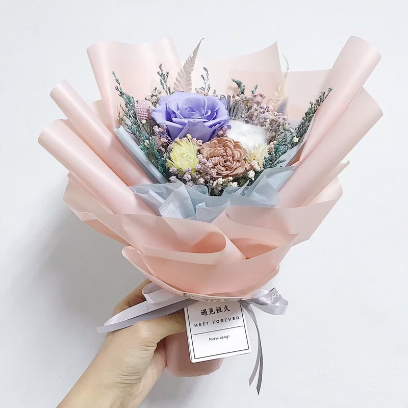 [Meet long-lasting] pink and purple eternal rose bouquet