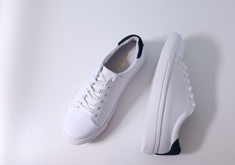 Featherweight dirt-resistant full leather white shoes increase size (34-44) blue custom-made goods
