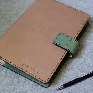 YOURS magnetic button leather loose-leaf notebook with two colors with A5-Size wood leather + green