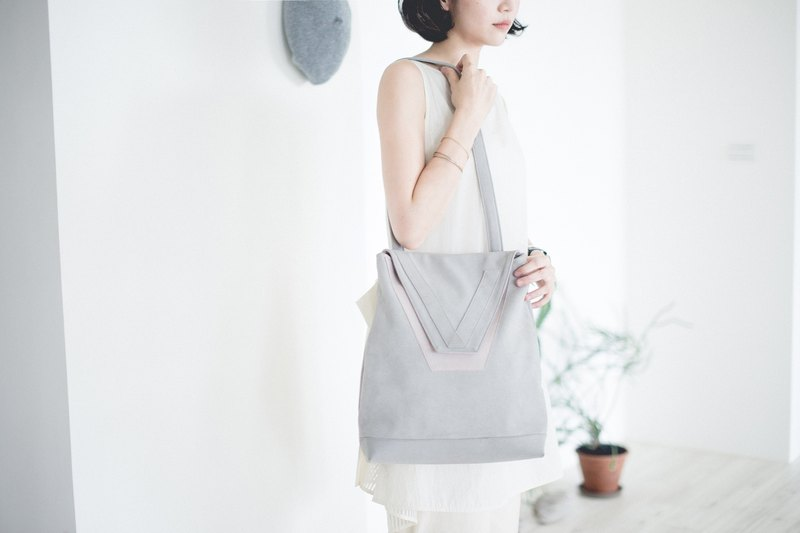 【A day collection】2way V-backpack (pale gray x misty pink)