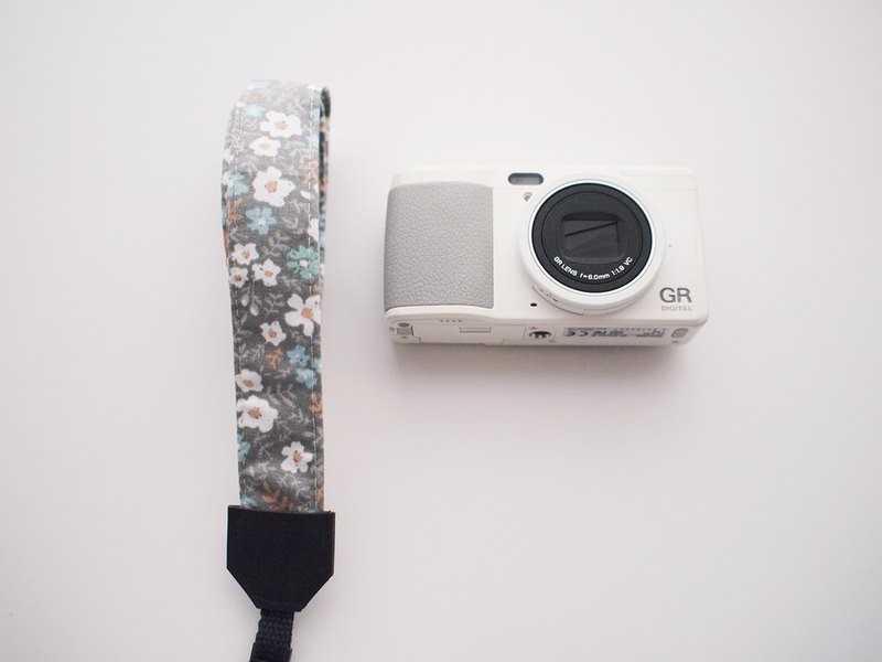 Hairmo small white flower camera strap / wrist strap - gray (camera / mobile phone / ID)