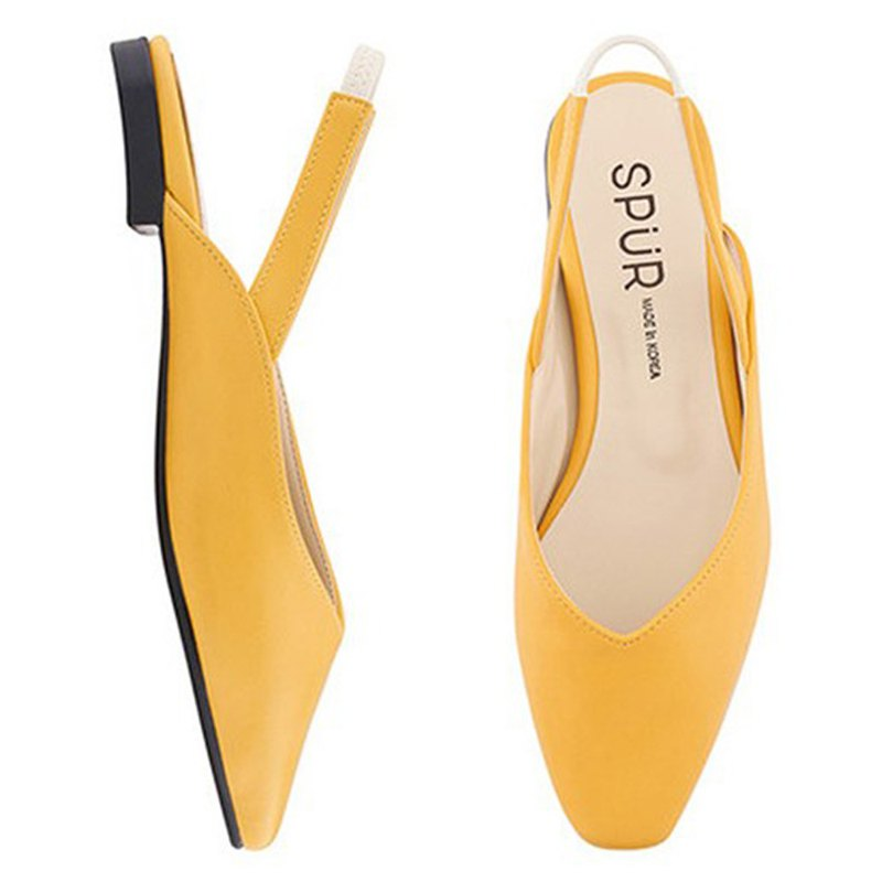SPUR Slim square sling back Flats MS9073 YELLOW