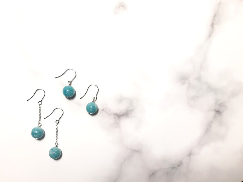 Aquamarine / natural stone earrings / can be changed ear clip