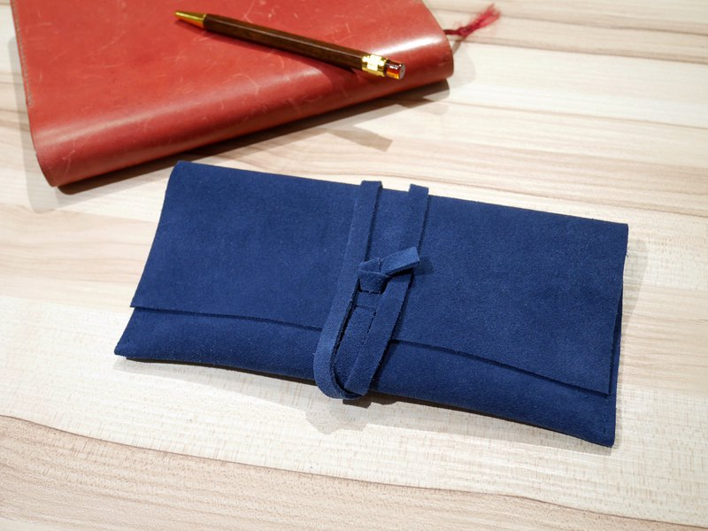 Suede pencil case / storage bag - dark blue