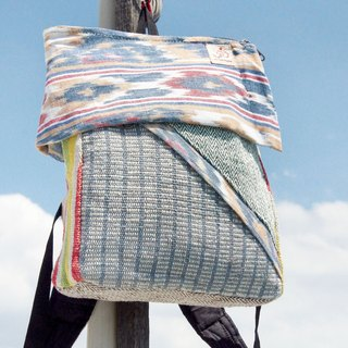 Valentine's Day handmade cotton and linen stitching design backpack / shoulder bag / national mountaineering bag / puzzle bag / cotton and linen backpack / travel bag - according to card woven ikat hit color block national wind