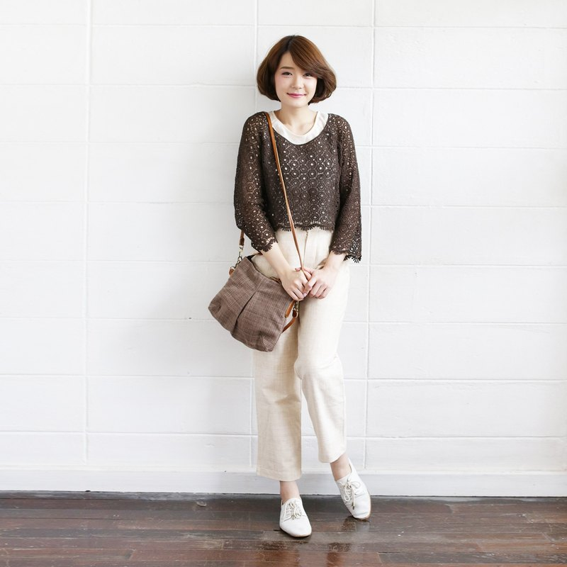 Brown Color Cross-body and Shoulder Midi Skirt Bags Size M Botanical Dyed Cotton