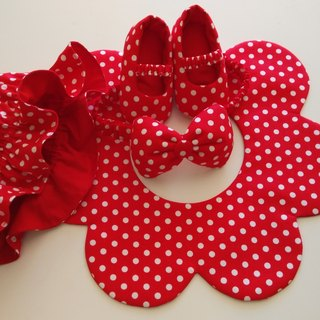 Red bottom little moon gift baby shoes + baby hat + hair band + bib