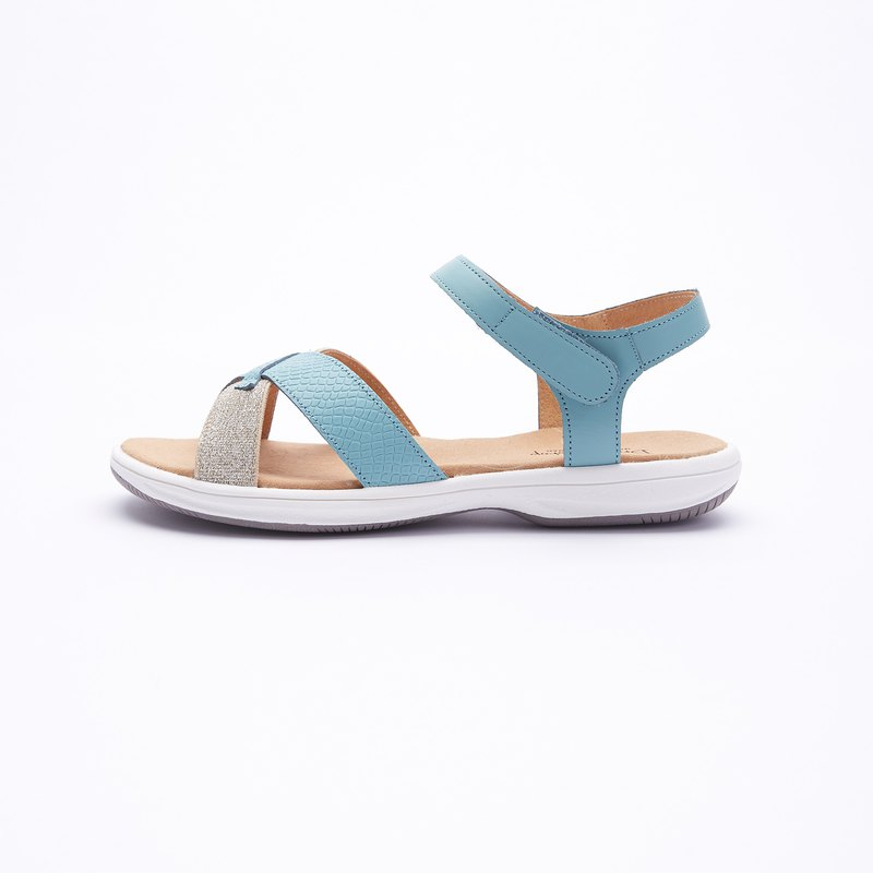 Large size sandals 41-47 Taiwan made contrast color cross belt ultra lightweight leather sandals 2.5cm blue