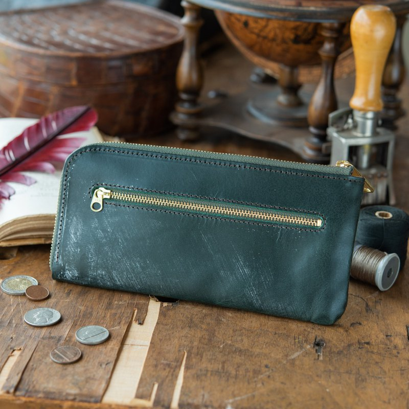 Manufactured in Japan Cowhide 錢包 L-shaped 鏈 鏈 綠 Thomas Ware Bridle made in JAPAN handmade leather wallet