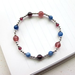 [Rock-Pluto] Strawberry Crystal x Red Pomegranate x Kayak x925 Silver - Hand-made Natural Stone Series