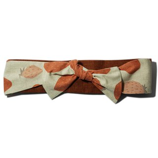 Deer Lita original design Japanese cotton and linen hair band large strawberry bow elastic multi-purpose headband