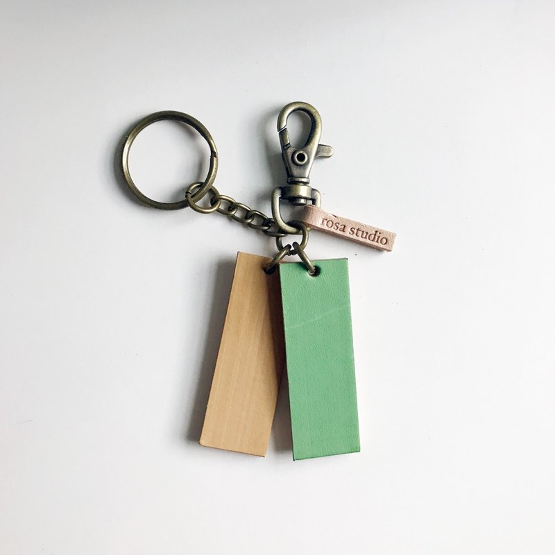 Leather key ring │ yellow green SAC01009