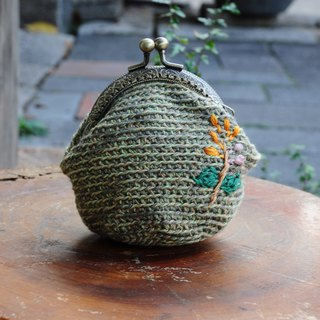 Hand Hook Cotton Twine Embroidery Gold Coin Purse - Olive Green Orange Flower
