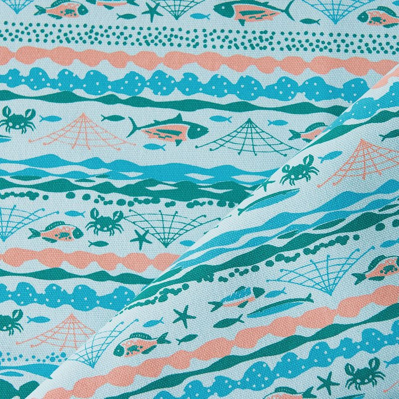 Hand-Printed Cotton Canvas - 400g/y / Fish / Water Blue