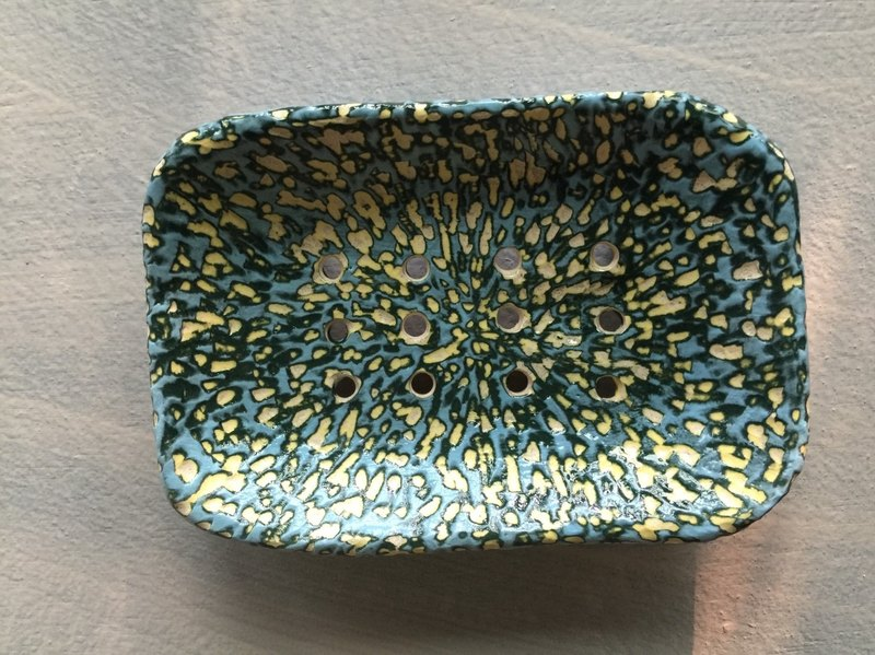 Goose yellow and turquoise blue cosmos _ pottery soap dish