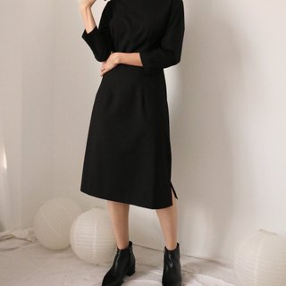 Septembre Dress - Pure cotton collar with seven-quarter sleeves and a long dress
