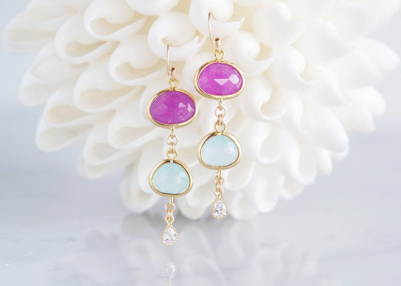【Procida】 14KGF Earrings (Purple Jade x Powder Blue)