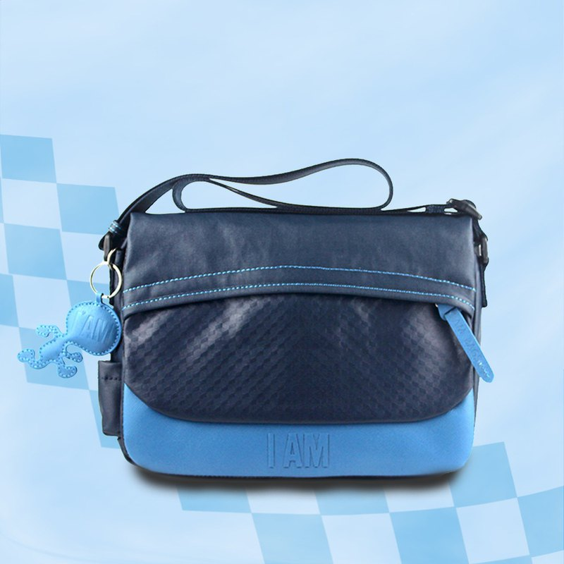 Free shipping I AM-mini messenger bag dark blue / light blue with leather