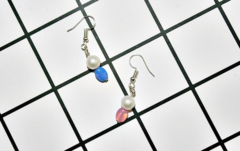 Alloy <double sided> _ hook earrings => limited X1-two-color style -